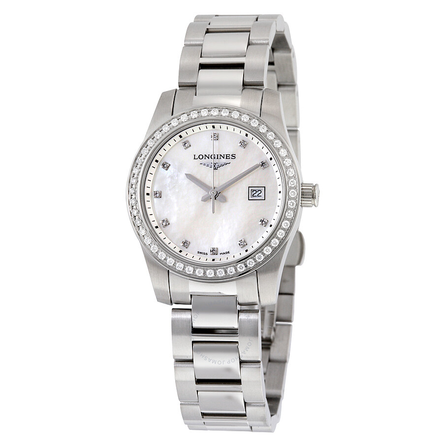Longines conquest mother of pearl diamond ladies watch l33000876 conquest longines watches for Woman diamond watches