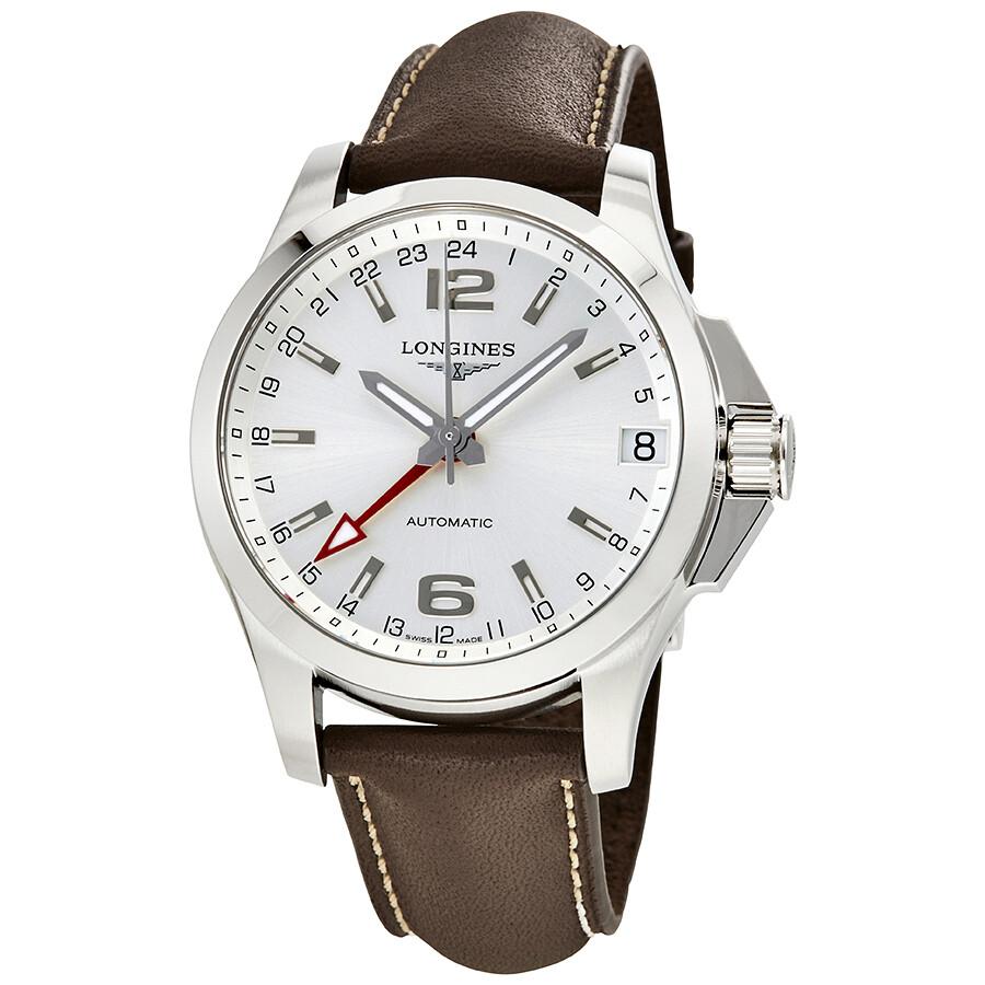595f2985e Longines Conquest Silver Dial Automatic GMT Men's Watch L36874764 ...