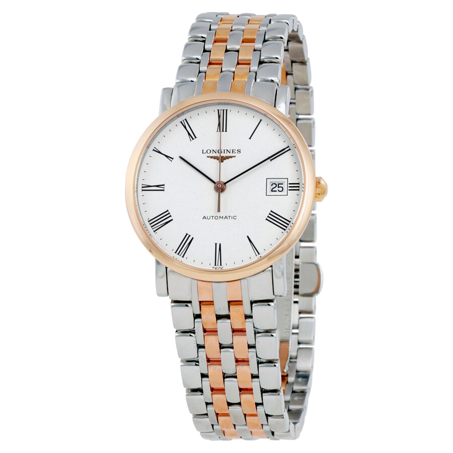 166d7a34999 Longines Elegant White Dial Steel and 18K Rose Gold Automatic Ladies Watch  L4.809.5.