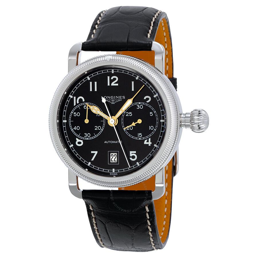 3386e1af9 Longines Heritage Chrono Blcak Dial Black Alligator Leathermens Watch  L2.783.4.53.0 ...