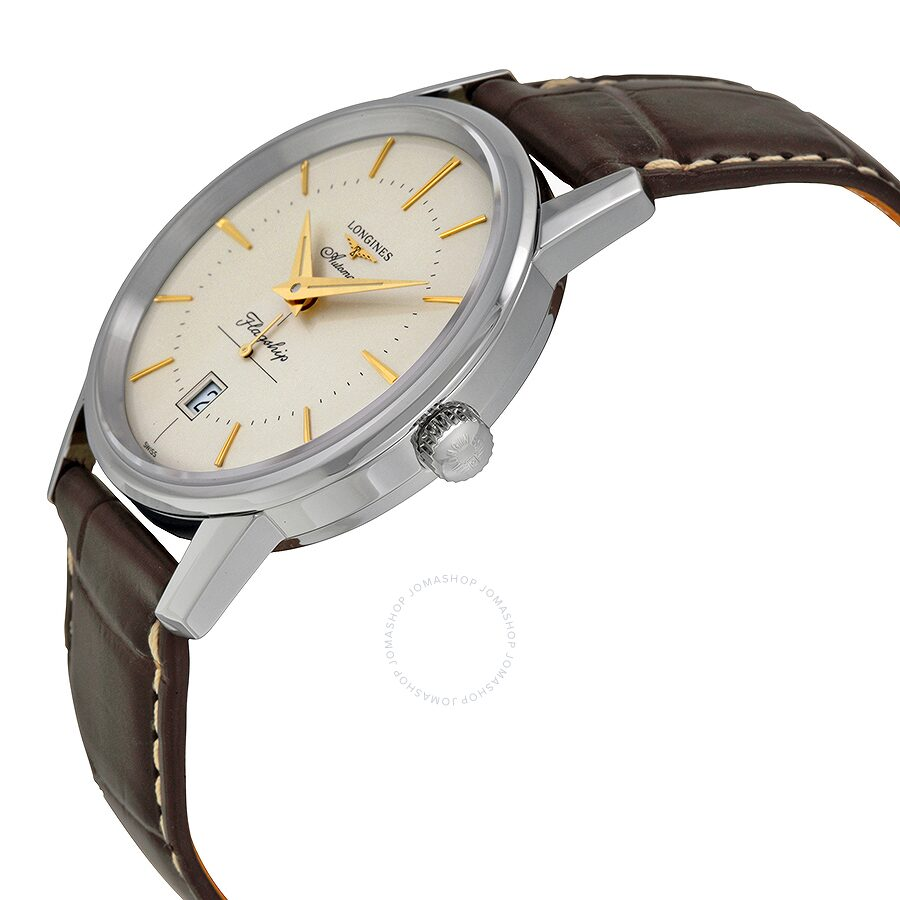 longines heritage flagship automatic silver dial brown leather longines heritage flagship automatic silver dial brown leather men s watch l47954782