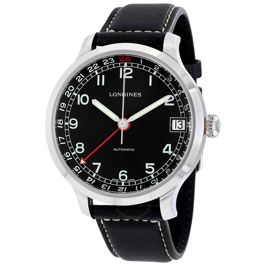 3ace3e7d3 Longines Heritage Military 1938 Black Dial Black Leather Band Stainless  Steel Case Automatic Men's Watch L27894530 ...
