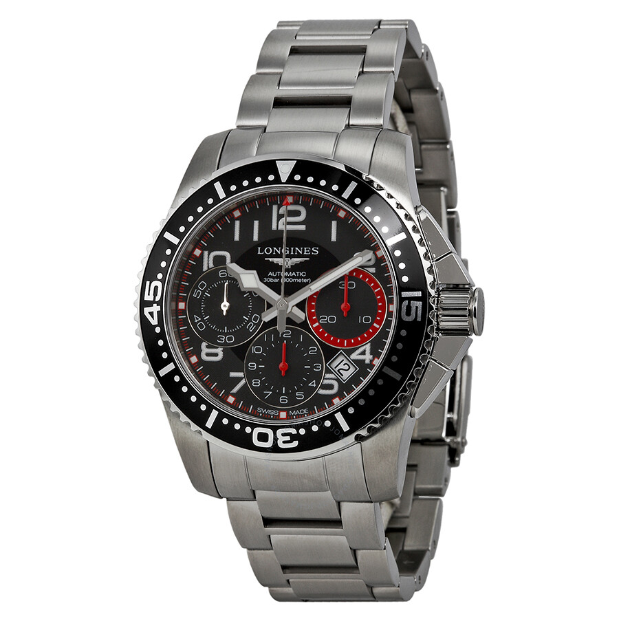 Longines Hydroconquest Chronograph Black Dial Stainless ...