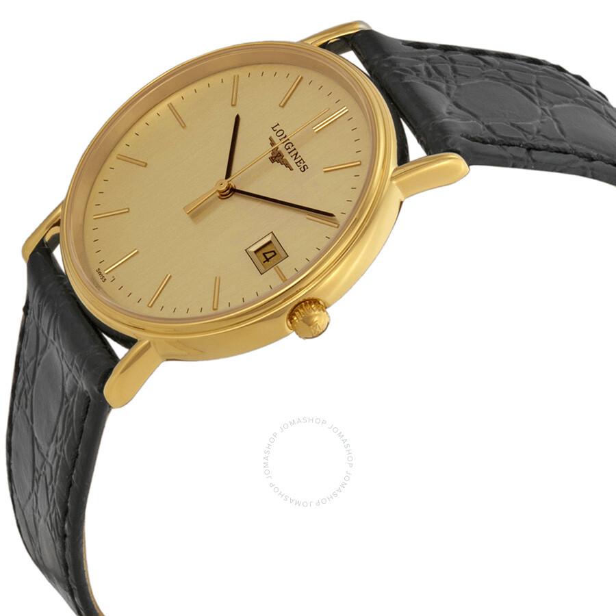 Longines la grande classique gold dial black leather ladies watch 47202322 la grande classique for Gold dial ladies watch