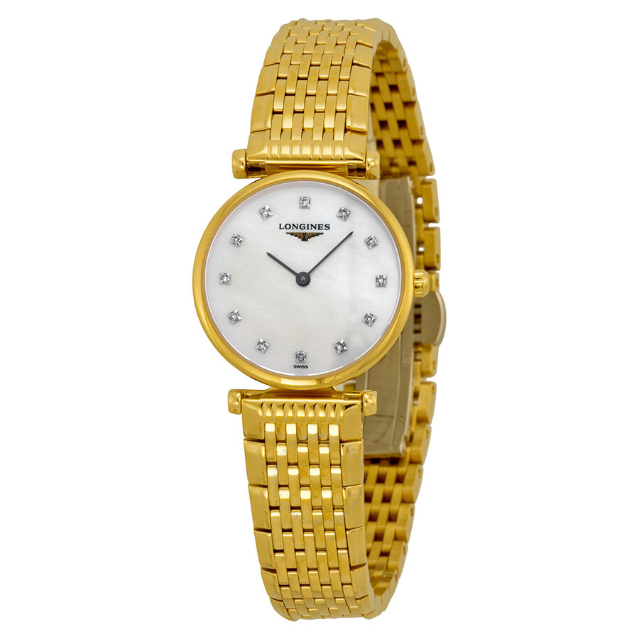 Longines la grande classique mother of pearl diamond ladies watch l42092878 la grande for Pearl watches