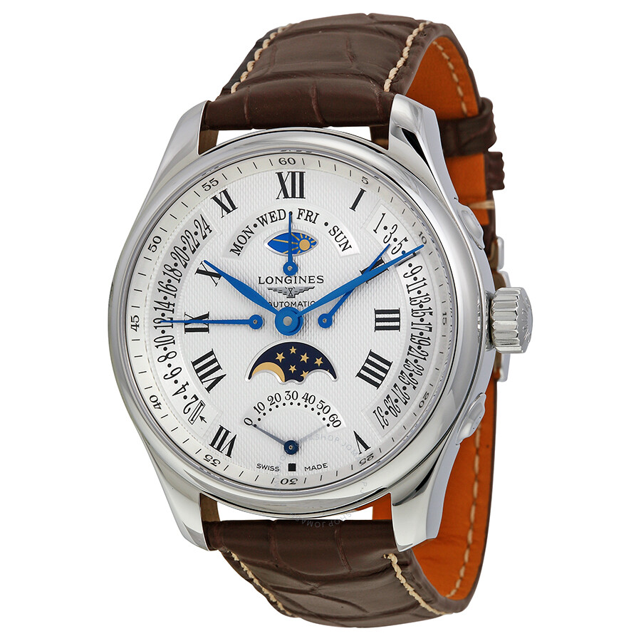 Longines master collection moonphase triple date watch brown leather