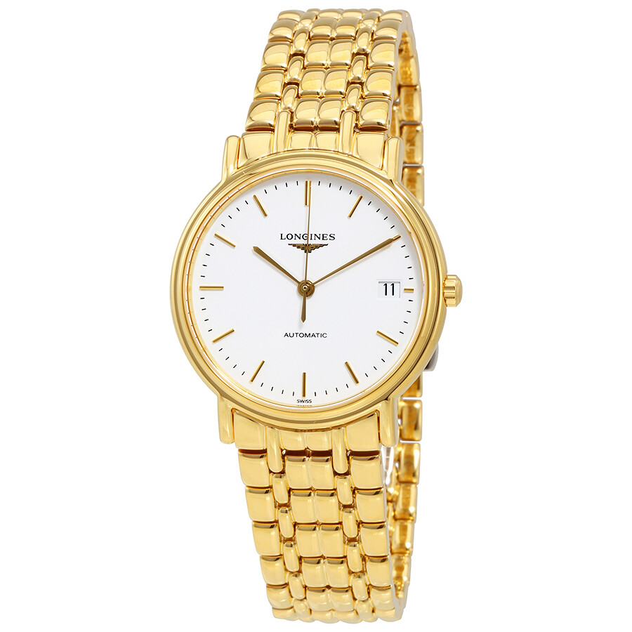 Longines Presence White Dial Ladies Gold Tone Watch ...