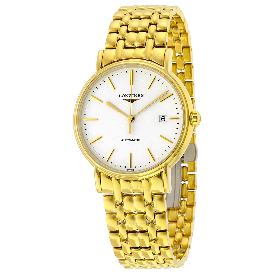 longines presence white yellow gold pvd steel s