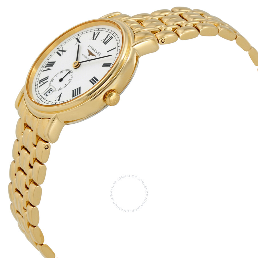 longines presence white yellow gold tone s