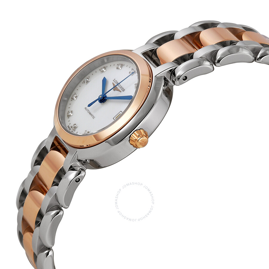 Longines primaluna automatic diamond mother of pearl dial two tone ladies watch l81115876 for Mother of pearl dial watch