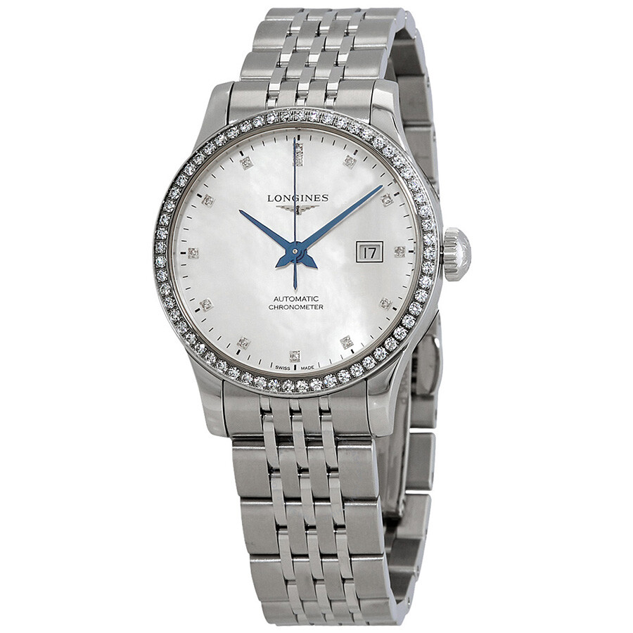 e1fdfc1b145 Longines Record White Mother of Pearl Diamond Dial Ladies Automatic Watch  L2.321.0.87.6 ...