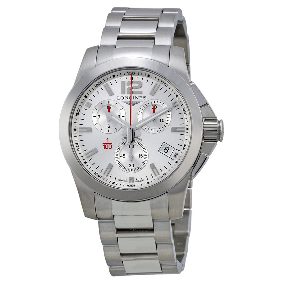 longines sport conquest silver stainless steel s