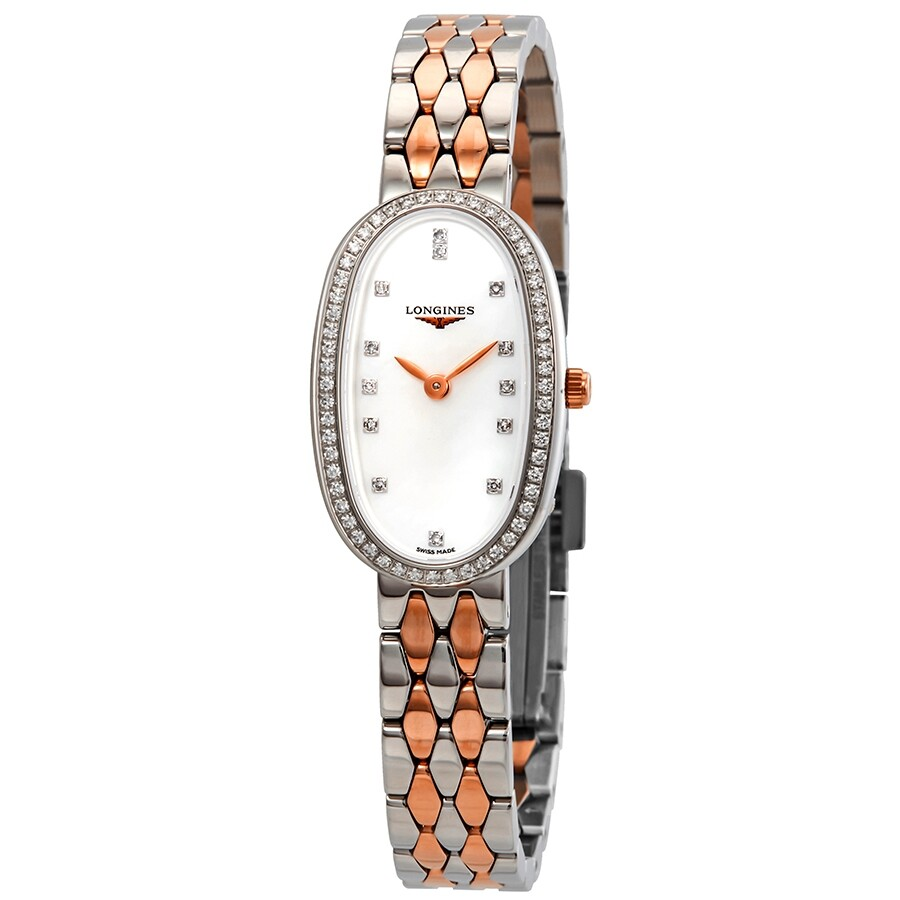 e0ac59770 Longines Symphonette Mother of Pearl Diamond Dial Ladies Steel and 18k Pink  Gold Watch L2.