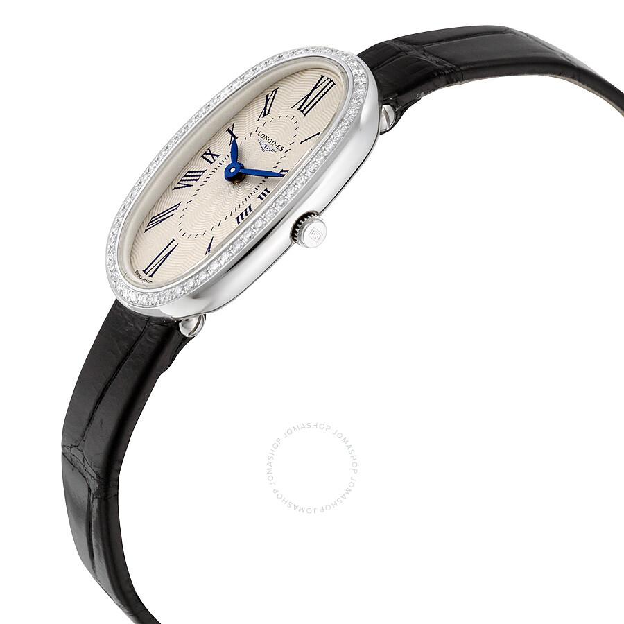 9911d107b ... Longines Symphonette Silver Dial Black Leather Ladies Watch L23050710  ...