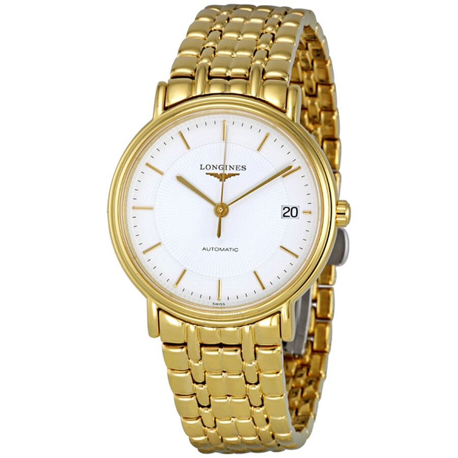 longines white automatic gold pvd stainless steel