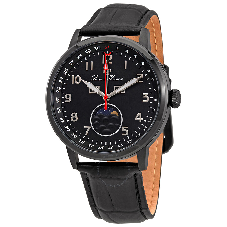 Lucien Piccard Black Dial Men's Leather Watch 40016-BB-01 ...