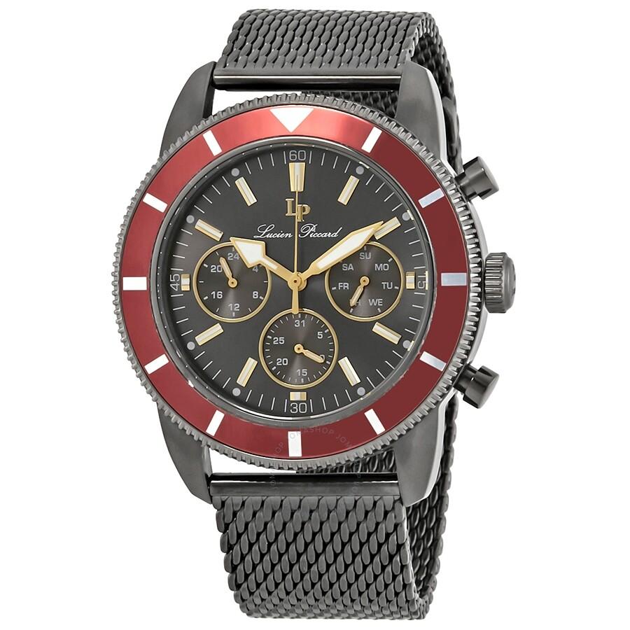 2019 am besten starke verpackung günstig Lucien Piccard Douglas Quartz Grey Dial Men's Watch LP-28019MF-140-RED