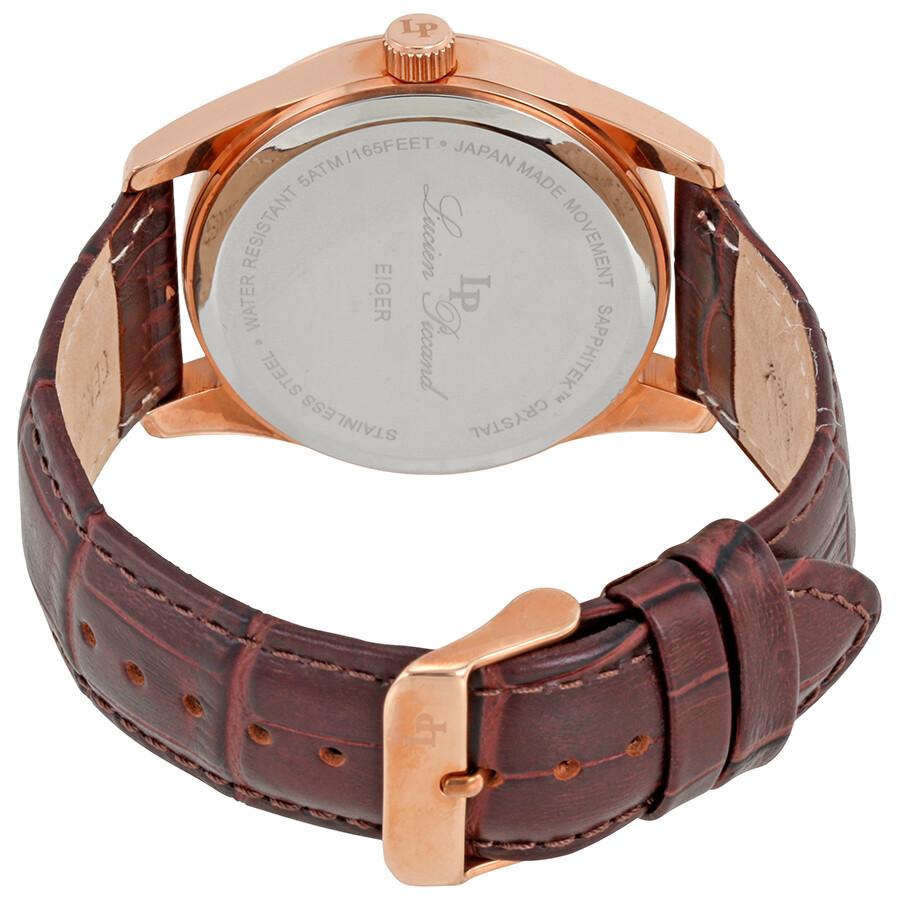 293482e8b5 ... Lucien Piccard Eiger Silver Dial Brown Genuine Leather Quartz Men s  Watch 11568-RG-02S
