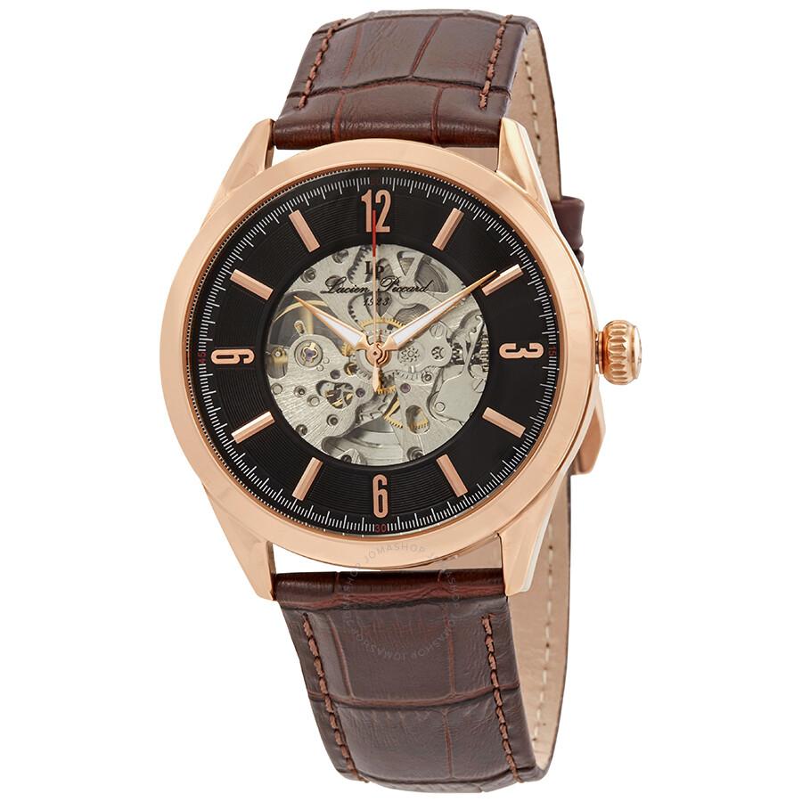 Lucien Piccard Loft Automatic Skeleton Men's Watch LP-10660A-RG-01-BRW ...