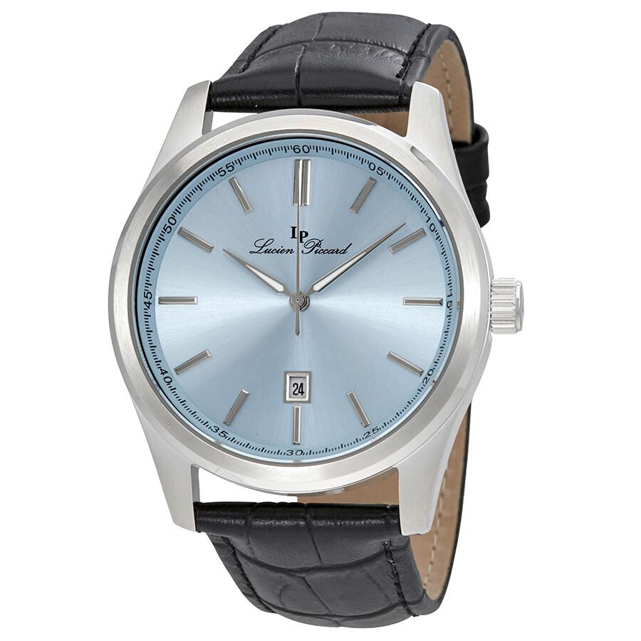df0ff24863 Lucien Piccard Men s Eiger Light Blue Dial Black Genuine Leather Watch  11568-012 ...