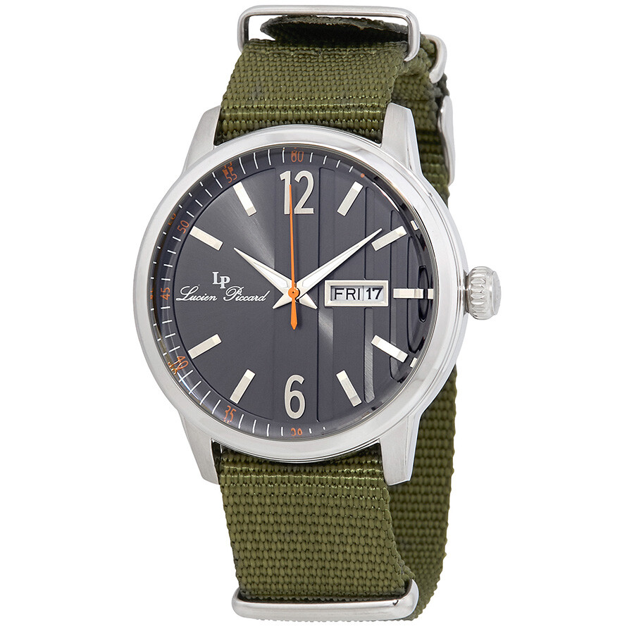 4686ca0b734 Lucien Piccard Milanese Black Dial Green Textile Strap Men s Watch  40027-01-GRNS ...