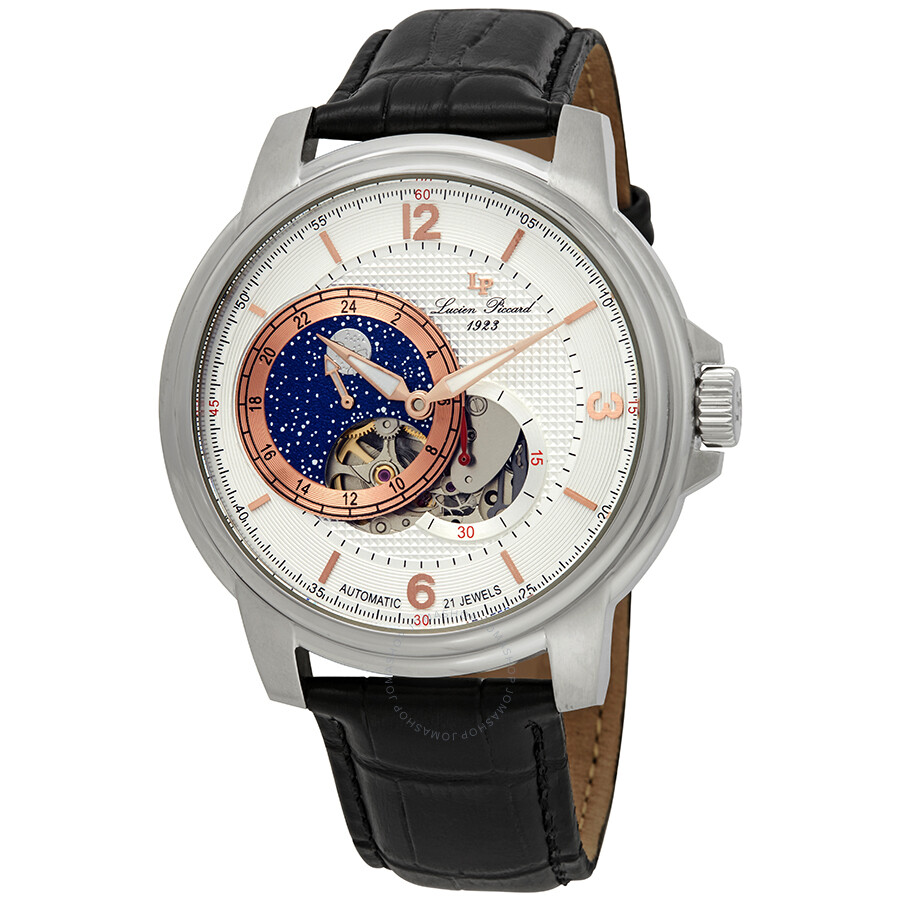 Lucien Piccard Nebula Moon Accent Automatic Men's Watch LP-15156-02S-RA ...