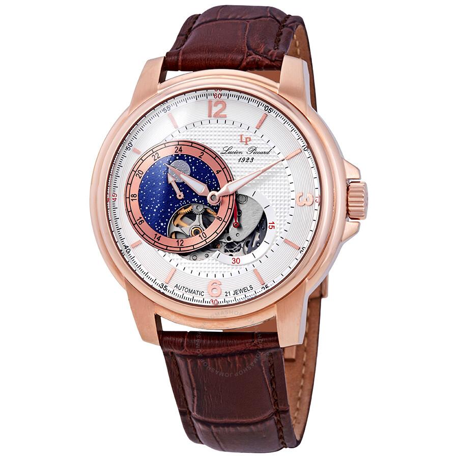 Lucien Piccard Nebula Moon Accent Automatic Men's Watch LP-15156-RG-02S- ...
