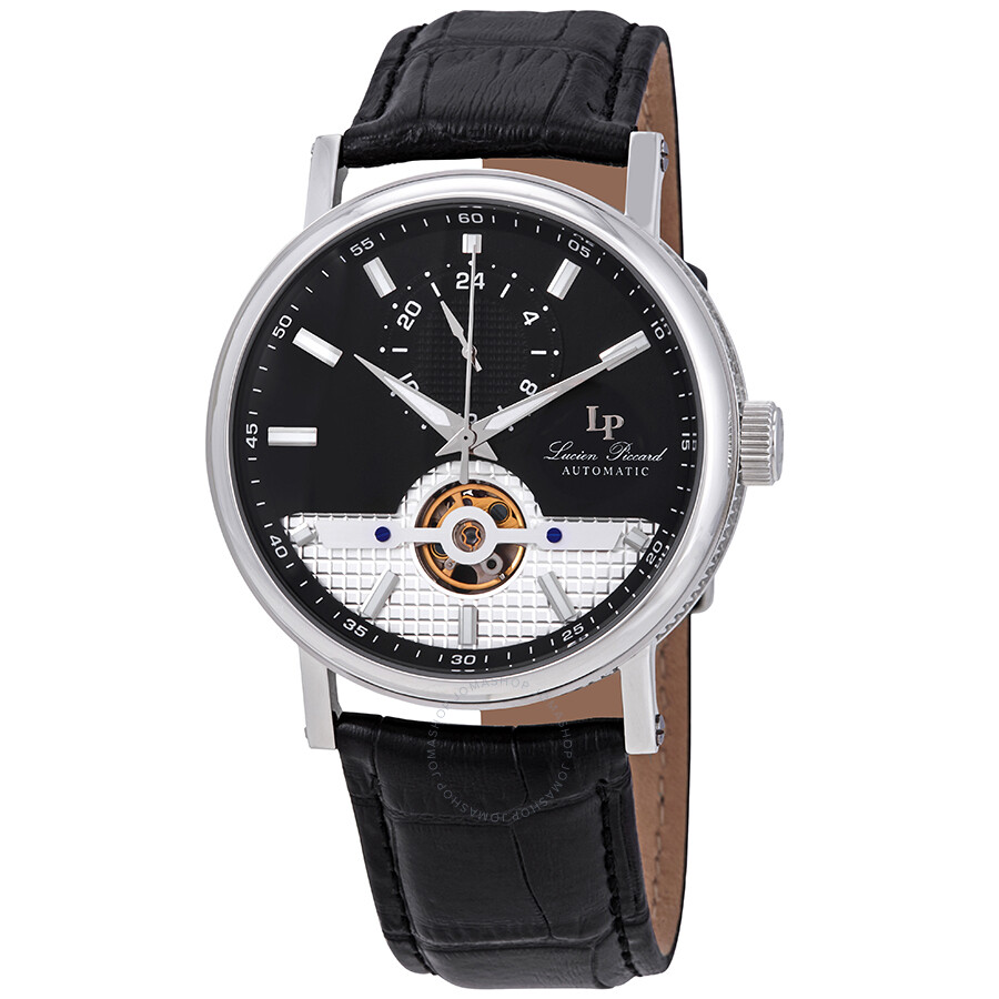 Lucien Piccard Open Heart 24 Automatic Black Dial Men's Watch LP-28002A-01  ...