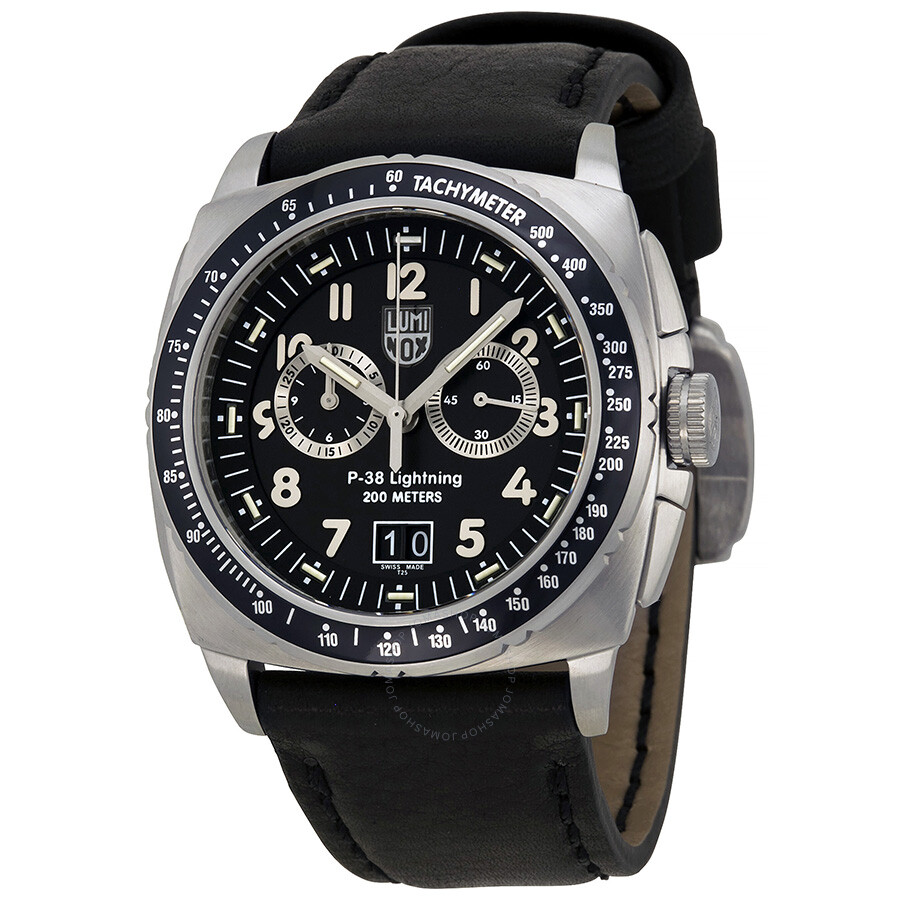 luminox chronograph black black leather s