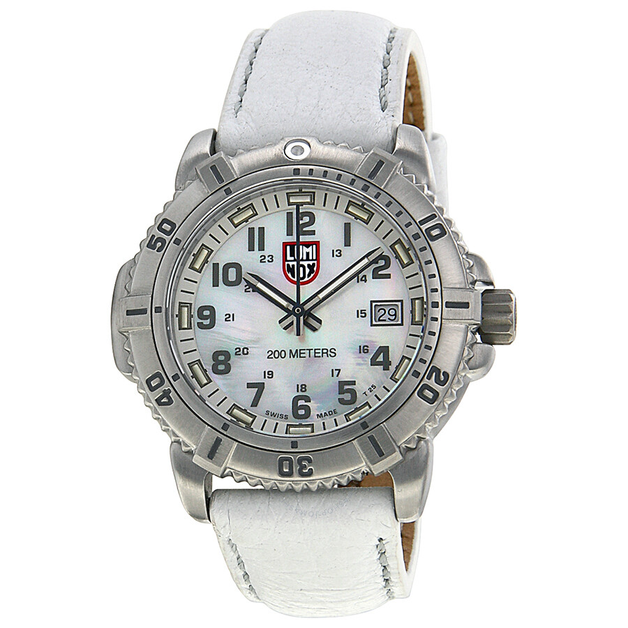 Luminox colormark 7050 mother of pearl dial leather ladies watch su7257 luminox watches for Luminox watches