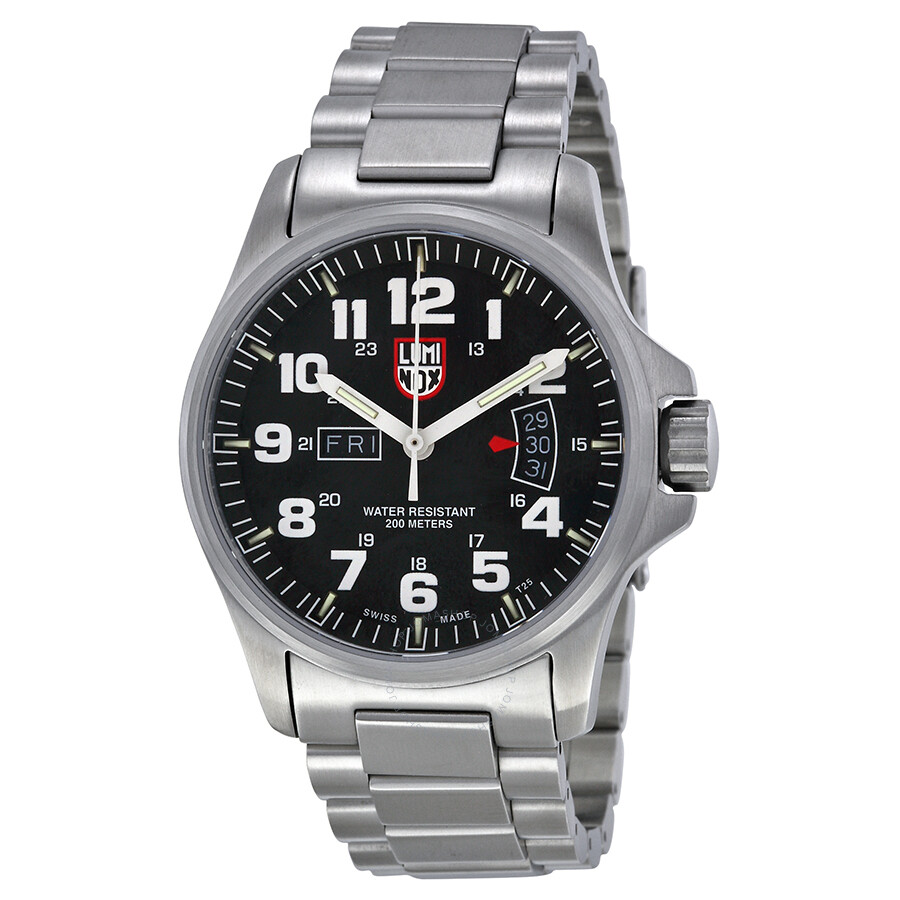 Luminox field time black dial stainless steel men 39 s watch 1822 luminox watches jomashop for Luminox watches