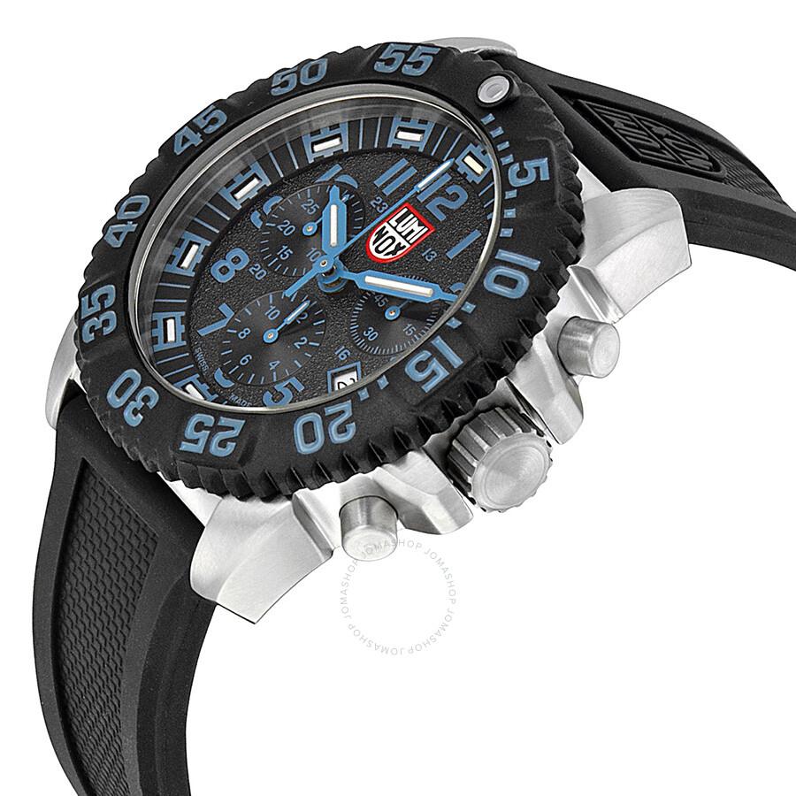 194d5291990 ... Luminox Navy SEAL Colormark Chronograph Black Dial Black Rubber Men s  Watch 3183 ...