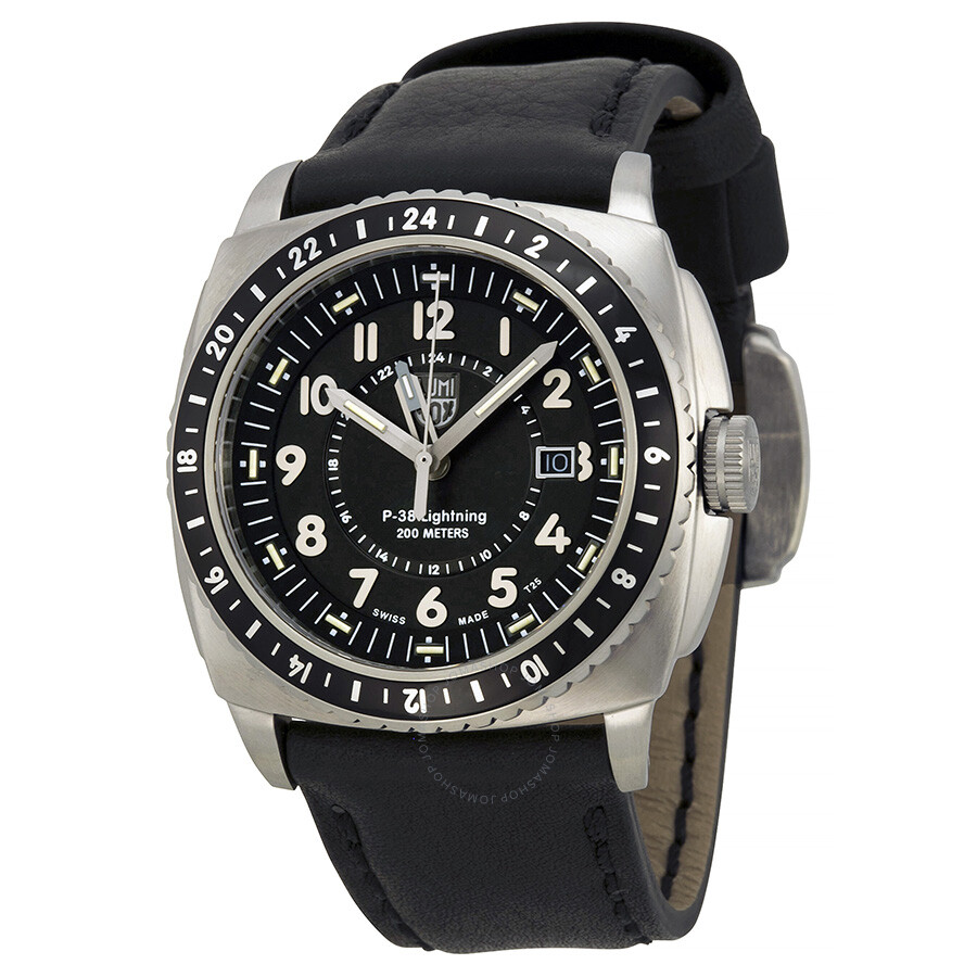 Luminox p 38 lighting black dial black leather men 39 s watch 9421 luminox watches jomashop for Luminox watches