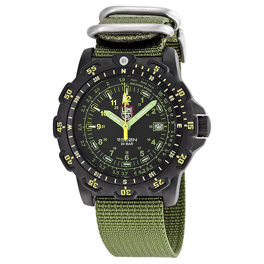 Luminox recon point man black dial green nylon men 39 s watch lm8826 mi luminox watches jomashop for Luminox watches