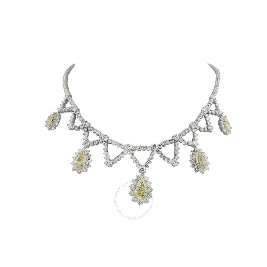 Luxurious Diamond Necklace With Yellow Pear Drop Diamonds 27 98 Ct