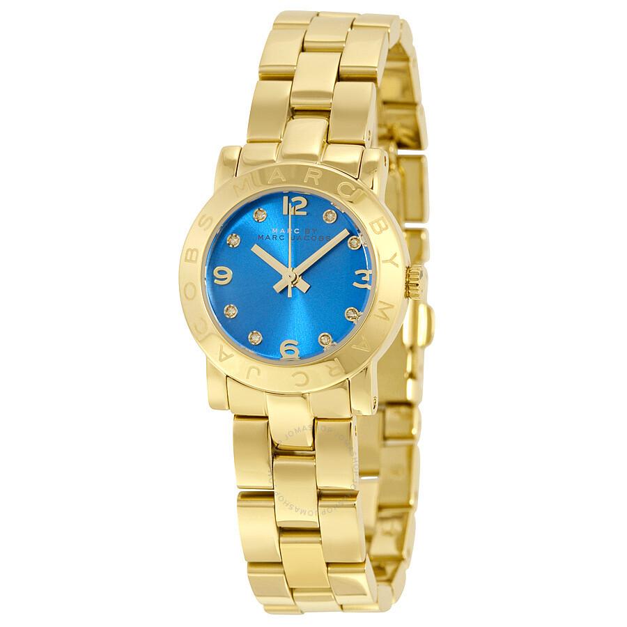 e0d275fef Marc by Marc Jacobs Amy Mini Blue Dial Gold-tone Ladies Watch MBM3304 ...
