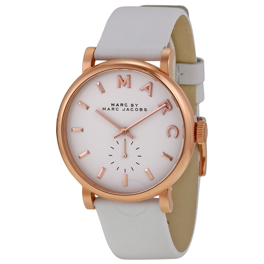 776764138dd50 Marc by Marc Jacobs Baker White Dial White Leather Ladies Watch MBM1283 ...