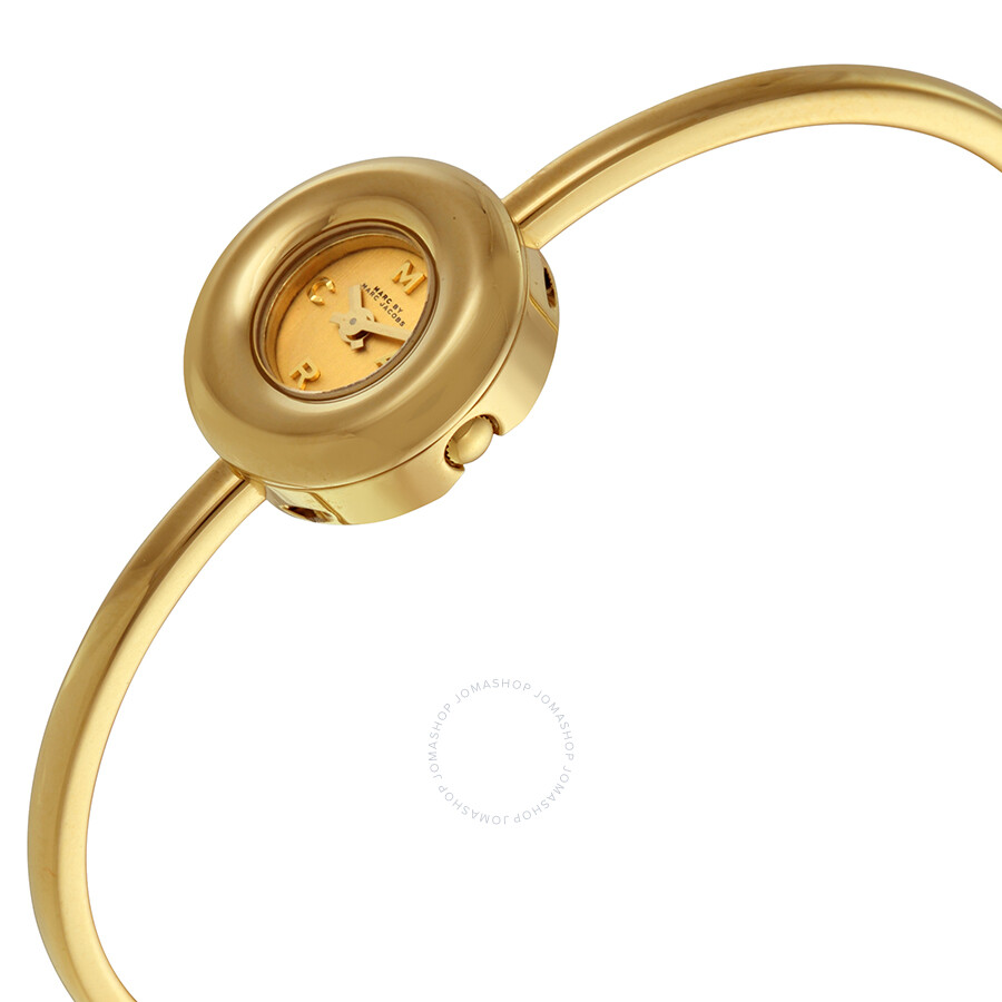 Marc by marc jacobs dinky donut gold dial gold tone ladies bangle watch mbm3434 marc jacobs for Ladies bangle watch