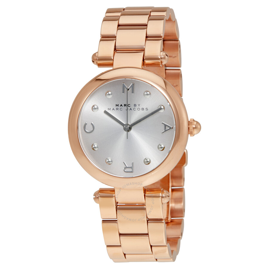 marc by marc jacobs dotty silver dial rose goldtone