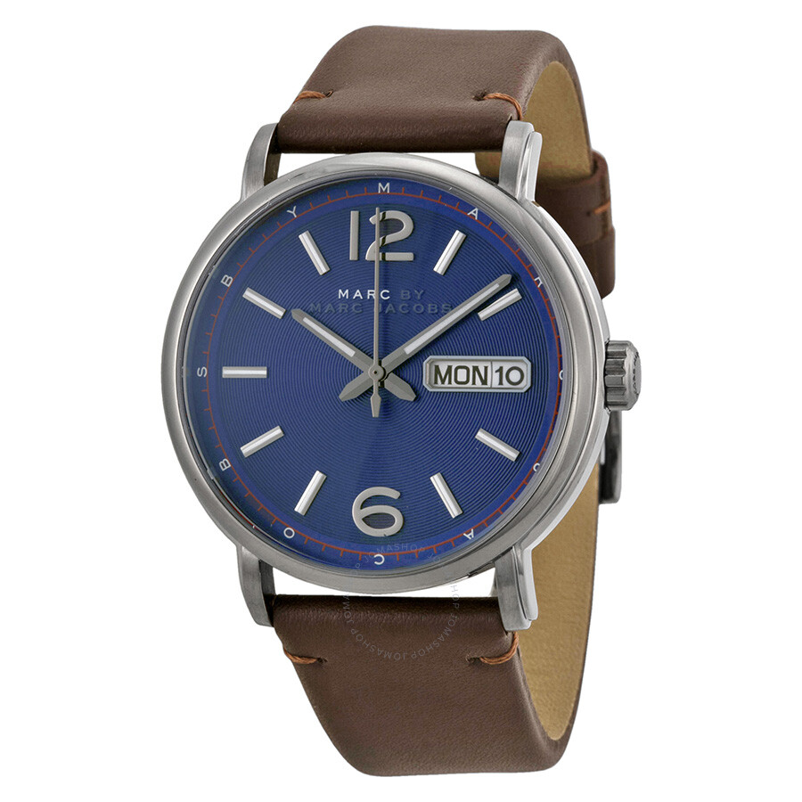 Marc by Marc Jacobs Fergus Blue Dial Brown Leather Men's ...