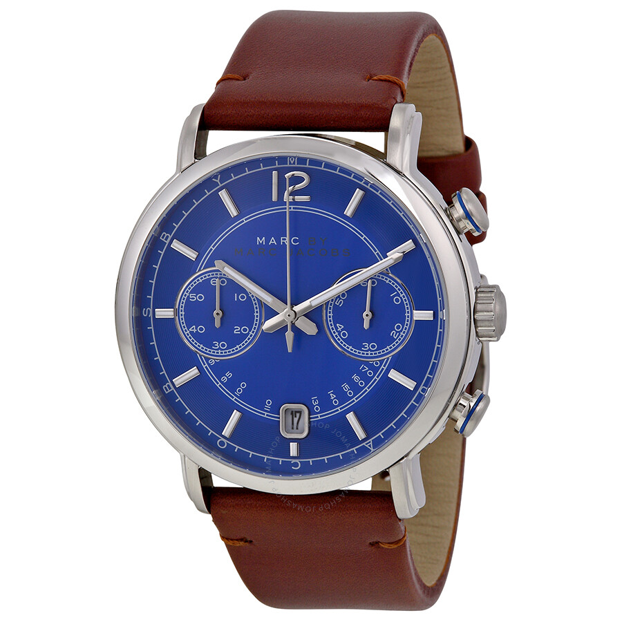 Marc By Marc Jacobs Fergus Chronograph Blue Dial Brown ...