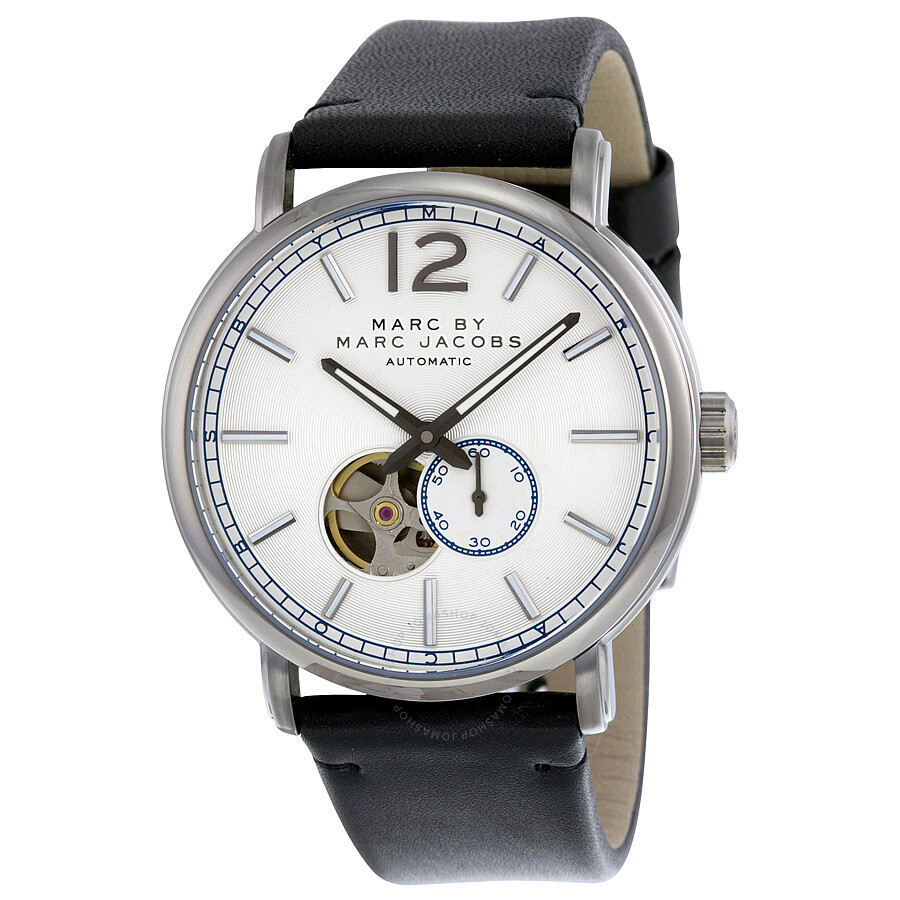 marc by marc jacobs watches jomashop marc by marc jacobs marc by marc jacobs fergus silver dial black leather men s watch