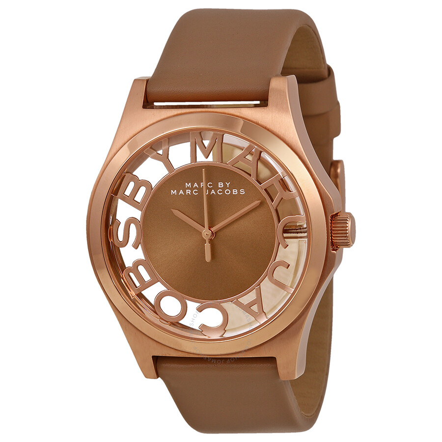 c212d8721be48 Marc by Marc Jacobs Henry Brown Cut-out Dial Rose Gold Ion-plated Ladies ...