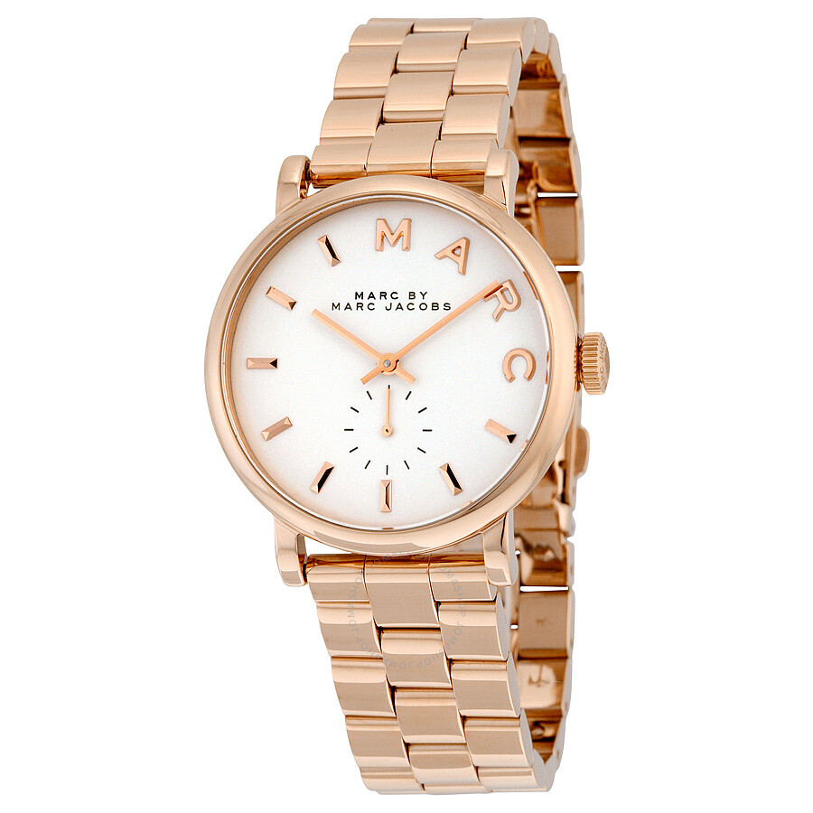 marc by marc jacobs silver dial rose goldtone ladies