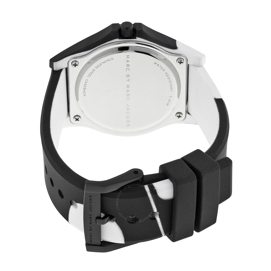 8e1de4da9db ... Marc By Marc Jacobs Sloane Black and White Dial Black and White Silicone  Ladies Watch MBM4027