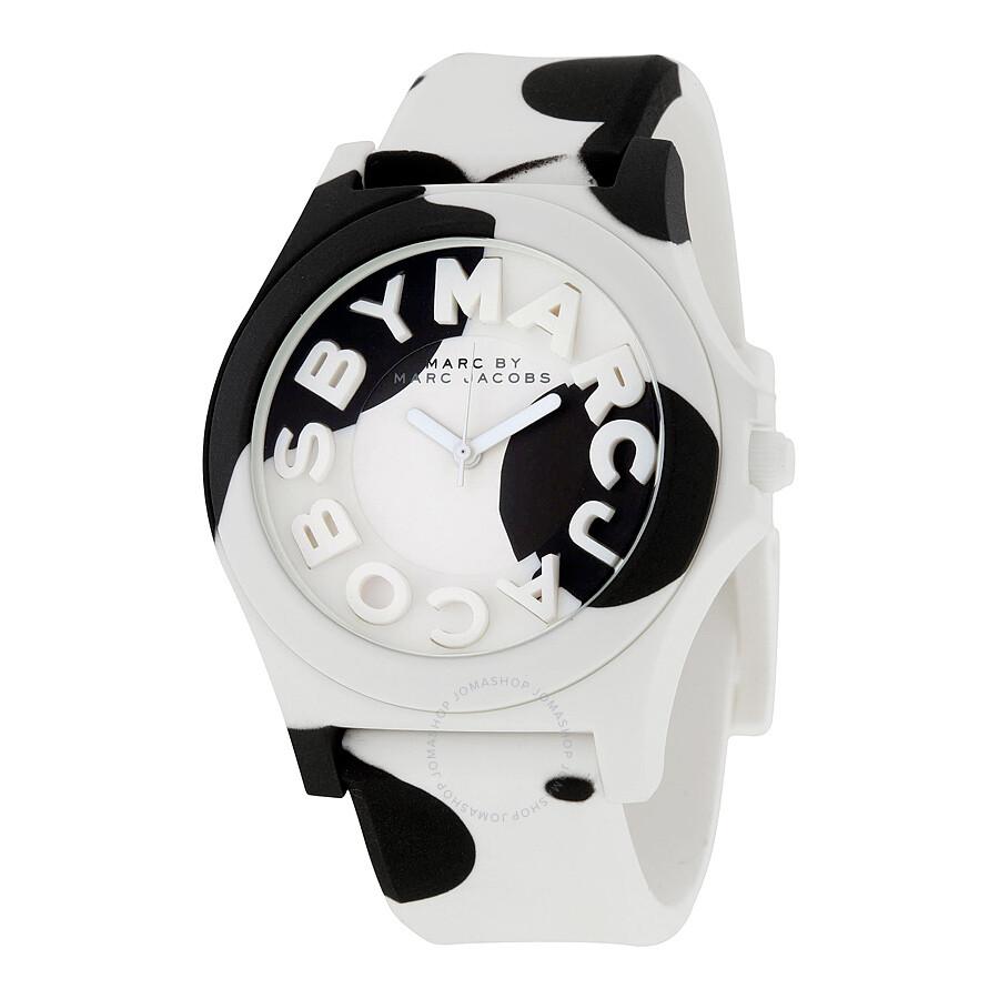 97cdedf0dd2 Marc By Marc Jacobs Sloane Black And White Silicone Quartz Ladies Watch  MBM4026 ...