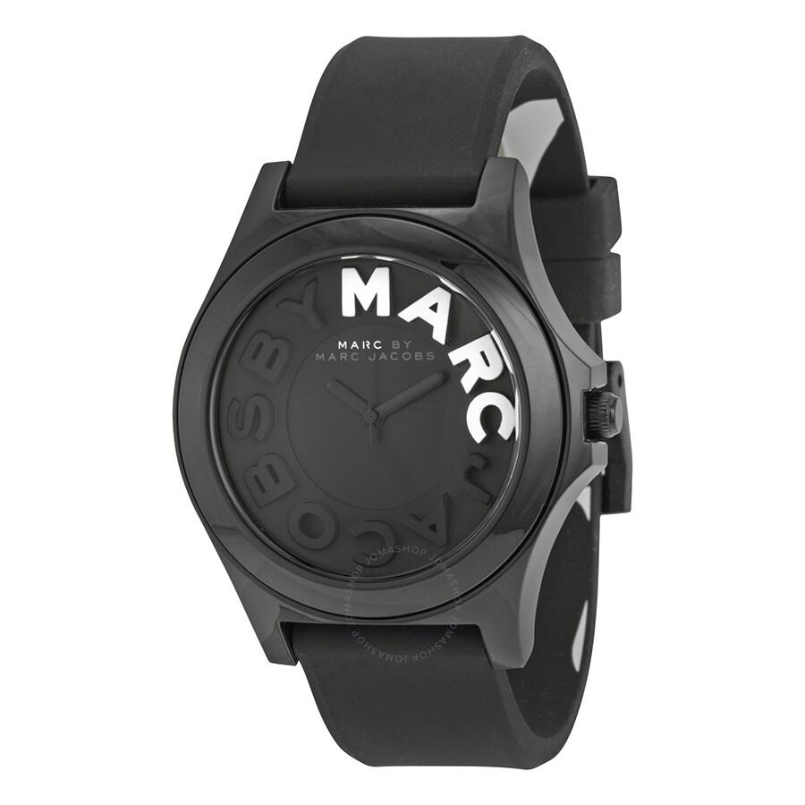 46ee4fbc0b0 Marc By Marc Jacobs Sloane Black Dial Black Silicone Ladies Watch MBM4025  ...