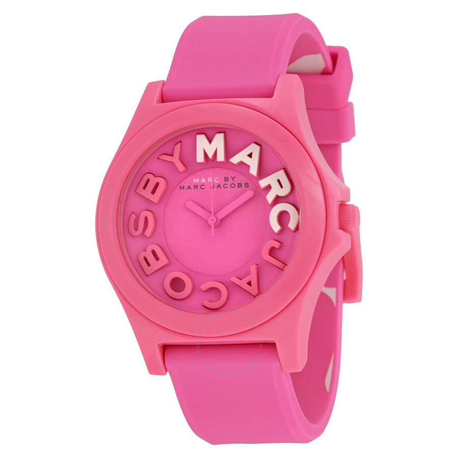 5afd5b207c5 Marc By Marc Jacobs Sloane Pink Dial Pink Silicone Ladies Watch MBM4023 ...