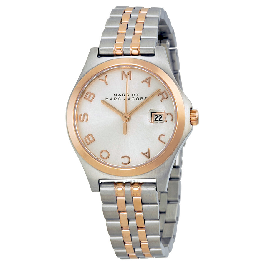 ad0d5847e24ca Marc by Marc Jacobs The Slim Silver Dial Two-tone Ladies Watch MBM3353 ...