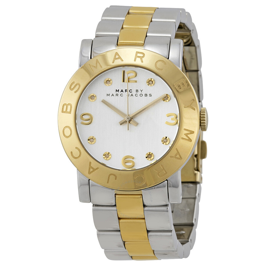 841043216f932 Marc Jacobs Amy Silver Dial Two-Tone Stainless Steel Ladies Watch MBM3139  ...